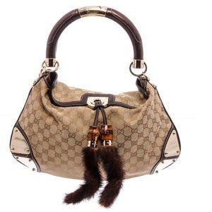 Gucci Brown Beige GG Canvas Medium Shoulder Bag